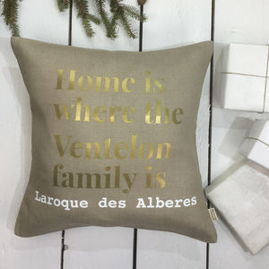 Gold Print Family Cushion