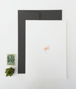 Rose Gold Flamingo Greetings Card - cards