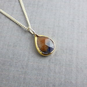 9ct Yellow Gold Sapphire Pendant - necklaces & pendants