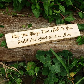 Shells In Your Pocket Natural Wood Sign