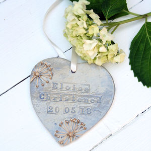 Blue And Gold Christening Hanging Heart - decorative accessories