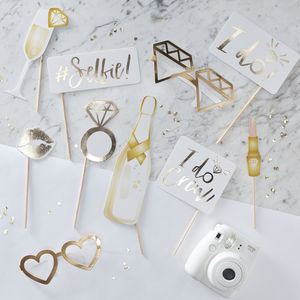 I Do Crew Gold Foiled Hen Party Photobooth Props