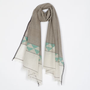 Handwoven Cotton/Wool Scarf With Geometric Border - scarves