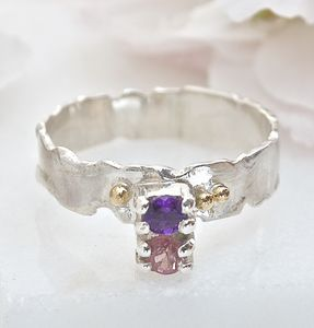 Silver And Gold Gemstone Ring Amethyst And Tourmaline
