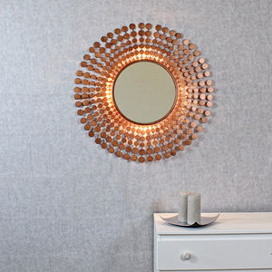 Coinbase Antique Copper Sunburst Light Wall Mirror