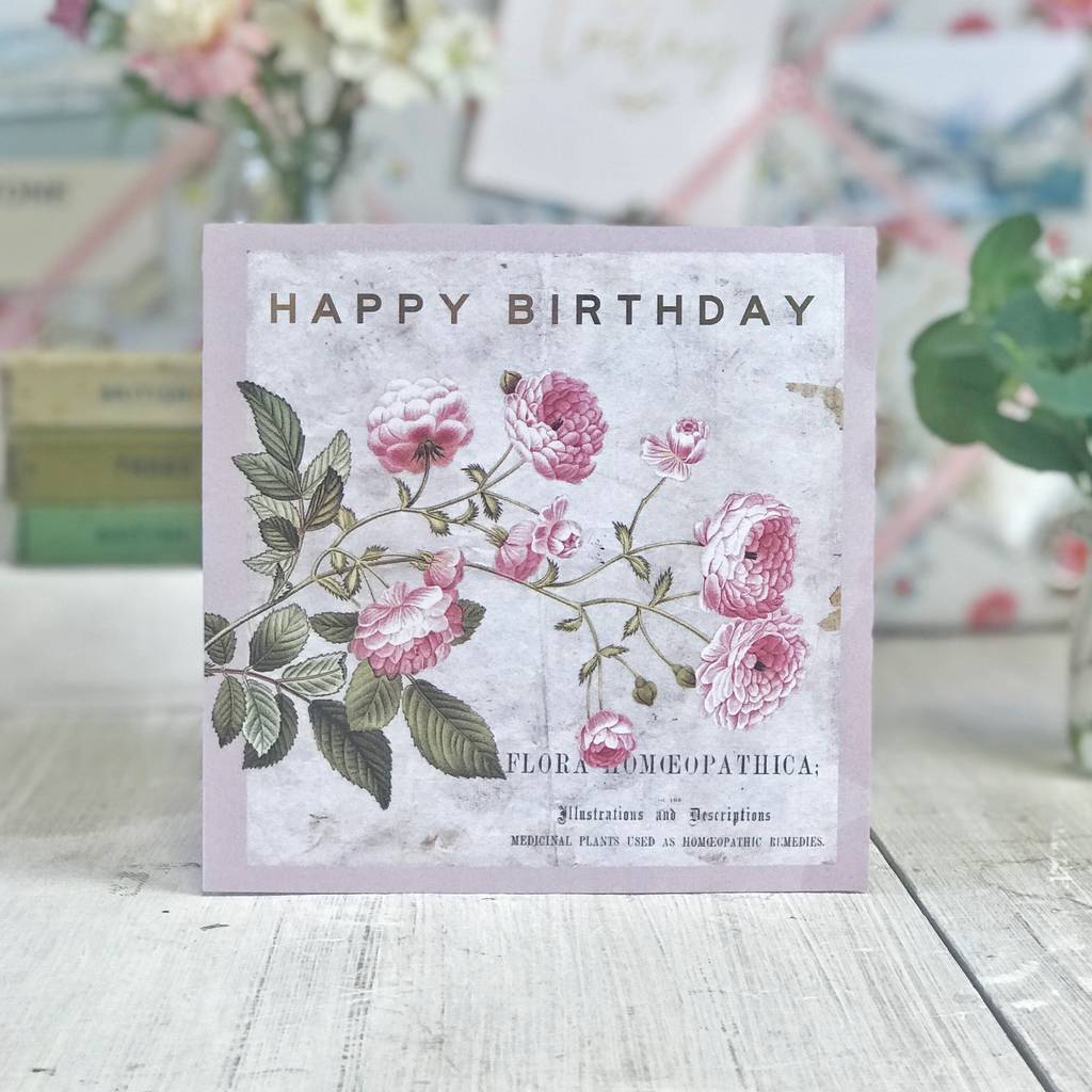 Happy Birthday Vintage Botanical Gold Greeting Card