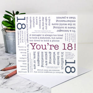 18th Birthday Card 'You're 18!' Quotes