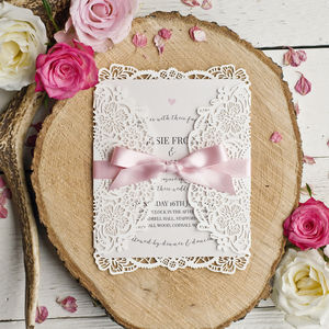 Alice Vintage Inspired Laser Cut Wedding Invite - wedding stationery