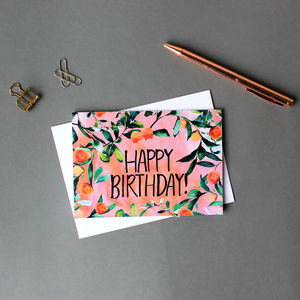 Citrus Orange Tree Happy Birthday Greeting Card