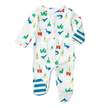 Unisex Magic Dragon Themed Footed Baby Sleepsuit