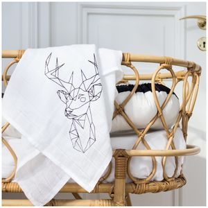 Stag Print Baby Muslin - baby shower gifts & ideas