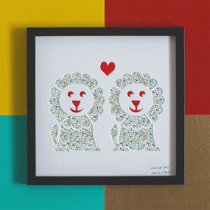 'Loved Up Lions' Lions Wedding Gift Artwork