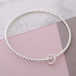 Silver Double Bubble Bangle