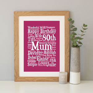 Personalised 80th Birthday Word Art Gift