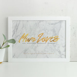 Personalised 'Mum Loves' Mothers Day Marble Print - personalised