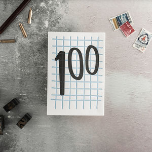 100 Tall Number Letterpress Birthday Card
