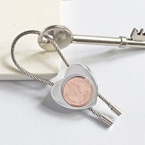 40th Halfpenny Heart Keyring. Dates 1971 To 1984