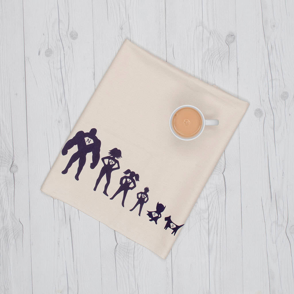 personalised tea towel superhero family by littlechook personalised ...