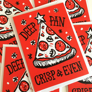Christmas Card Packs Funny Pizza Cards In Five Or 10 - cards & wrap