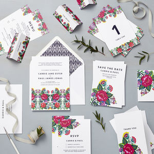 Floral Folk Wedding Stationery Sample Pack - save the date cards