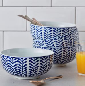 Blue And White Geometric Bowl
