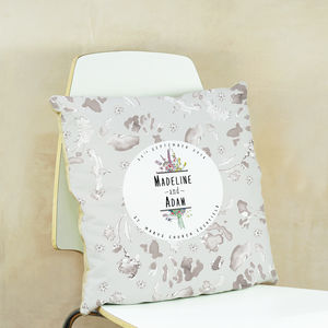 Personalised Wildflower Wedding Cushion
