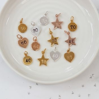 Sterling Silver, Rose Gold Or Gold Vermeil Number Charm