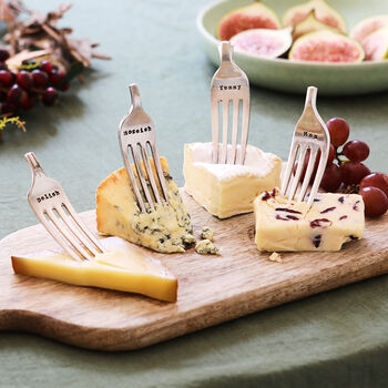 Personalised Vintage Silver Plated Cheese Markers Set