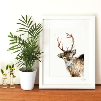 Inky Reindeer Illustration Print