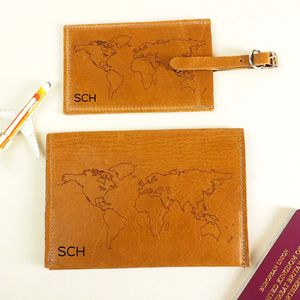 Leather Luggage Tag And Passport Cover Personalised