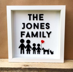 Personalised 3D Stick Family Portrait - mixed media & collage