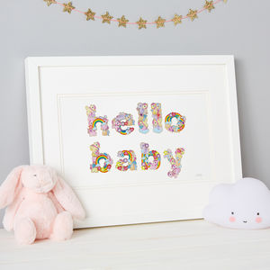 'Hello Baby' Sticker Typography Framed Artwork - mixed media pictures for children