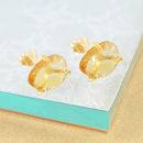 Citrine November Birthstone Gold Stud Earrings
