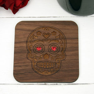 Wooden Mexican Skull Coaster - party decorations