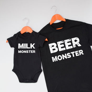 Beer And Milk Monster Father And Child Clothing Set