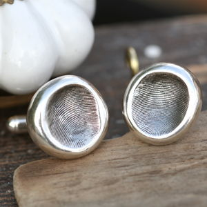 Personalised Silver Nugget Fingerprint Cufflinks - cufflinks