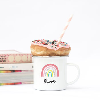 Personalised Rainbow Enamel Mug