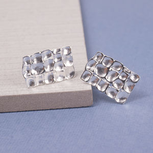 Silver Waffle Cufflinks - men's accessories