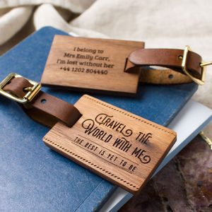 Personalised Wood Luggage Tag - frequent traveller