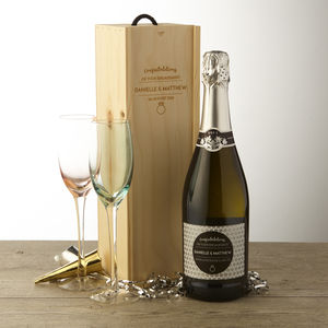 Personalised Engagement Prosecco And Wooden Gift Box - wines, beers & spirits
