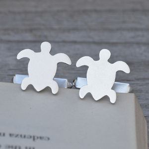 Personalised Sea Turtle Cufflinks In Sterling Silver