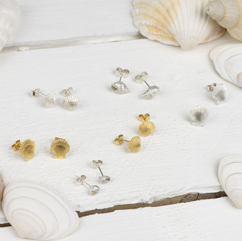 silver sterling pfs seashell stud bling earrings jewelry nautical vermeil gold