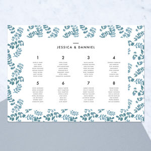 Greecian Eucalyptus Table Plan - room decorations