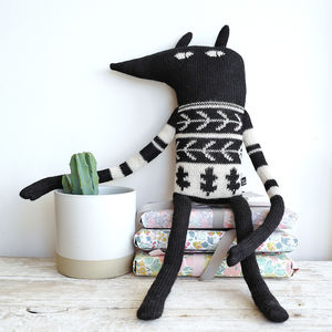 Fair Trade Knitted Alpaca Wolf Toy