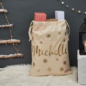 Personalised Christmas Snowflake Sack - stockings & sacks