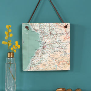 Personalised Hanging Map Location Block Wall Art - mixed media & collage