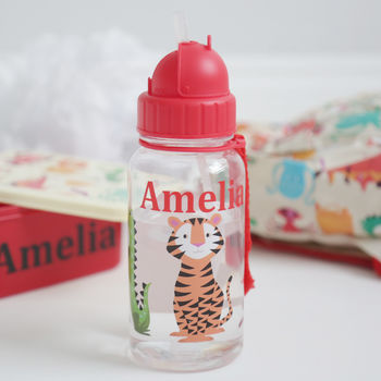 Personalised Colourful Animal Print Water Bottle