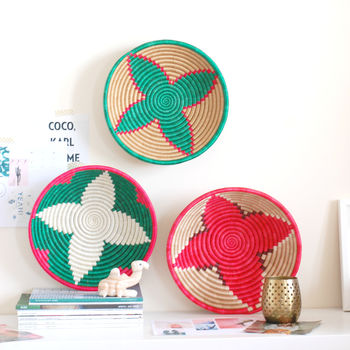 Set Of Three Colourful Fairtrade Woven Bowls