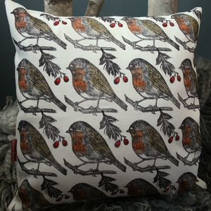 Robin Print Hand Printed Linen Cushion Cover - christmas cushions