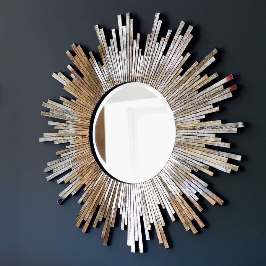 Large burnished sunburst mirror by the forest co for Sunburst mirror